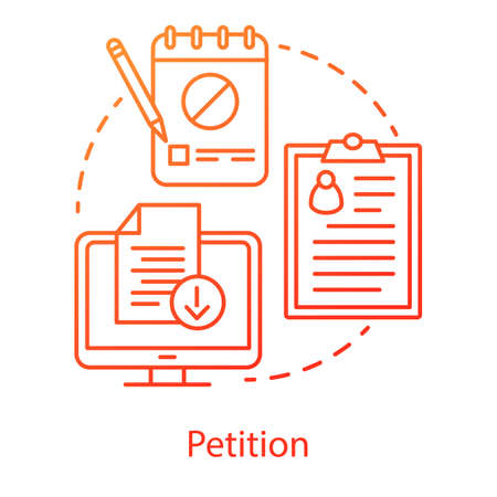 Petition concept icon. Internet signature collection idea thin line illustration. Computer, clipboard and notepad vector isolated outline drawing. Modern protest, public opinion demonstration