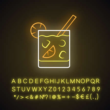 Cocktail in lowball glass neon light icon. Refreshing alcohol cold drink in old fashioned tumbler. Glowing sign with alphabet, numbers and symbols. Vector isolated illustration