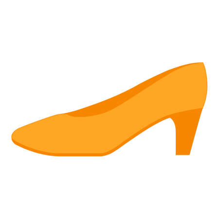 Pumps yellow flat color icon. Woman stylish formal footwear design. Female casual stacked kitten heels, luxury modern court shoes. Fashionable ladies clothing accessory. Vector silhouette illustration