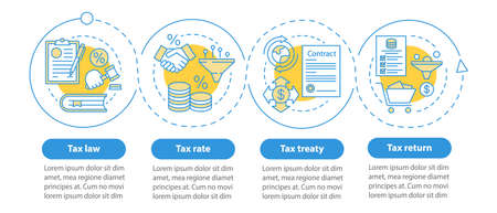 Taxes system vector infographic template. Tax rate. Business presentation design elements. Data visualization with four steps and options. Process timeline chart. Workflow layout with linear icons