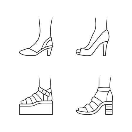 Women summer shoes linear icons set. Female elegant formal and casual footwear. Stylish platform and sandals. Editable stroke. Thin line contour symbols. Isolated vector outline illustrations