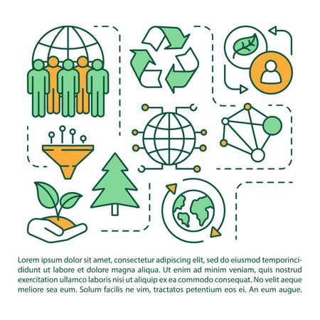 Modèle vectoriel de page d'article de protection de l'environnement. Prendre soin de la nature et des écosystèmes. Brochure, magazine, élément de conception de livret avec des icônes linéaires. Design d'impression. Illustrations conceptuelles avec texte Vecteurs