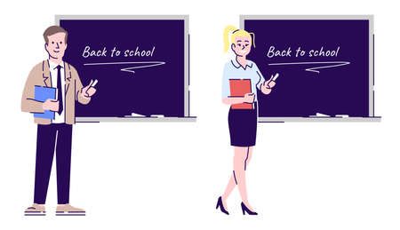 Teachers flat vector character. Male and female school educators, tutors, instructors cartoon illustration with outline. Educational industry workers. Lecturer, professors isolated on white background