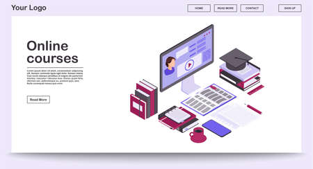 Online courses webpage vector template with isometric illustration. Webinar, video tutorial, digital teacher. Remote internet studying, distance education. Website interface layout. Webpage 3d concept
