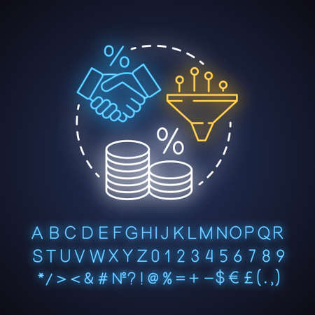 Tax rate neon light concept icon. Taxable income idea.  Pay percentage of revenue to government. Tax ratio calculation. Glowing sign with alphabet, numbers and symbols. Vector isolated illustration Illusztráció