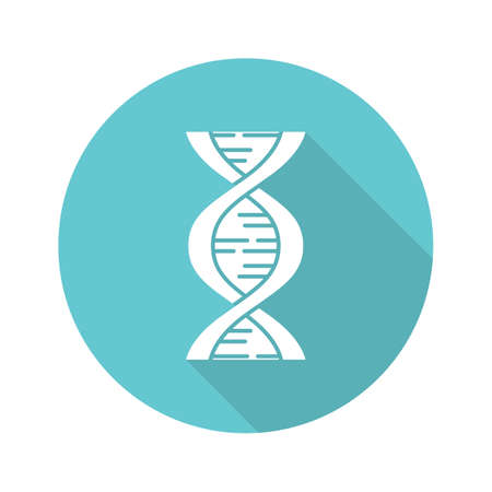 Biophysics turquoise flat design long shadow glyph icon. Genetics research. DNA helix molecule structure. Genome scientific studies. Chromosome gene. Vector silhouette illustration