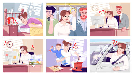 Everyday stress flat vector illustrations set. Tired office worker, boss screaming on employee. Yelling driver, multitasking mother with son, waking up in morning cartoon characters. Routine anxiety Illustration