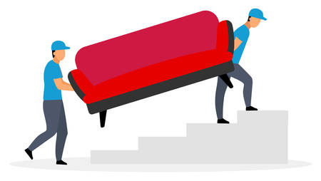 Couriers carrying sofa flat vector illustration. Deliveryman, postman, loader men delivering couch furniture isolated cartoon characters on white background. Delivery, shipping service concept Illusztráció
