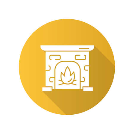 Fireplace yellow flat design long shadow glyph icon. House heating. Interior element, furniture in vintage style. Mantelpiece, hearthstone, room fire place. Vector silhouette illustration Фото со стока - 131289598