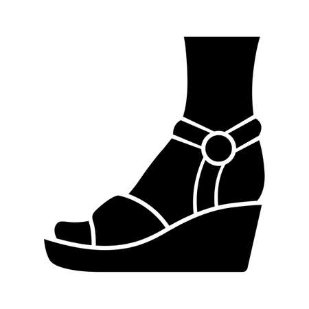 Wedges glyph icon. Woman stylish footwear. Female casual shoes, sandals with platform heel. Fashionable and trendy clothing accessory. Silhouette symbol. Negative space. Vector isolated illustration