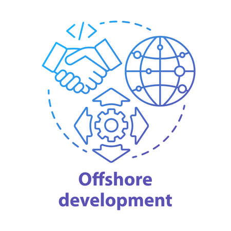 Offshore development concept icon. Recruiting freelancers from around world. International IT business company idea thin line illustration. Vector isolated outline drawing