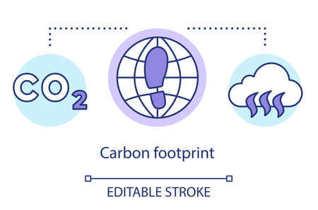 Carbon footprint concept icon. Greenhouse effect gas accumulation. Total CO2 emissions. Global warming. Climate change idea thin line illustration. Vector isolated outline drawing. Editable stroke