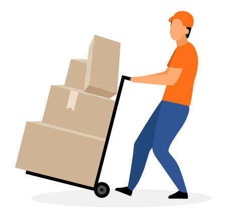 Warehouse worker with hand truck flat vector illustration. Courier, deliveryman moving trolley, dolly cart with cardboard boxes, parcels isolated cartoon character. Delivery, shipping service concept Illustration