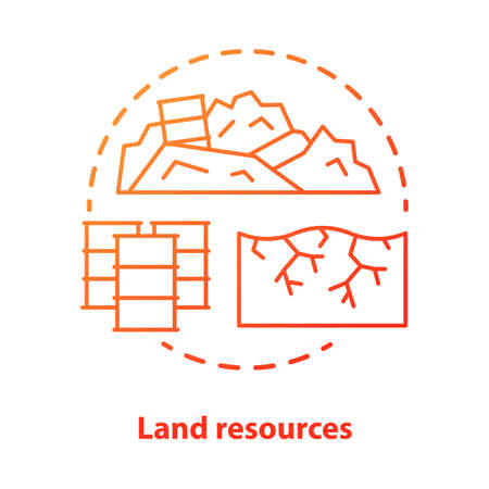 Land resources concept icon. Natural minerals usage idea thin line illustration in blue. Soil pollution and erosion, ecological disaster. Nature contamination. Vector isolated outline drawing