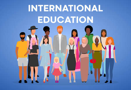 International education poster vector template. Multinational students exchange program. Brochure, cover, booklet page concept with flat illustrations. Advertising flyer, leaflet, banner layout idea