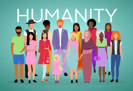 Humanity poster vector template. Adult population. Brochure, cover, booklet page concept design with flat illustration. Multiracial and multicultural people.  Advertising flyer, leaflet, banner layout