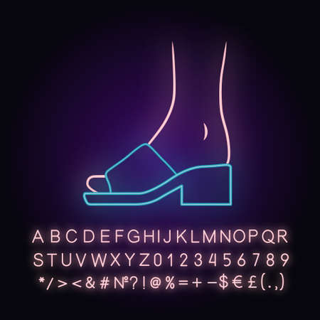Mule sandals neon light icon. Woman stylish footwear design. Female casual shoes, luxury modern summer block high heels. Glowing sign with alphabet, numbers and symbols. Vector isolated illustration Ilustracja