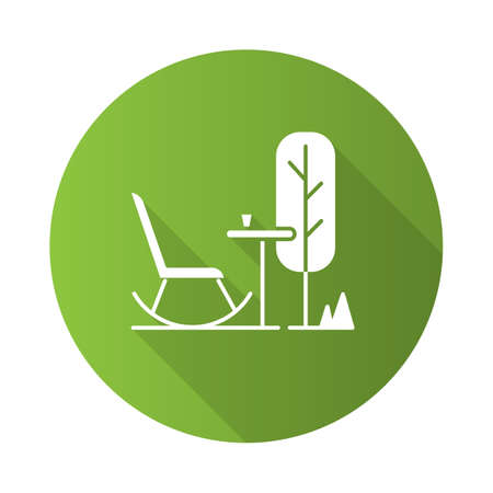 Outdoor space green flat design long shadow glyph icon. Rocking chair with table in garden. Patio furniture. Terrace outdoor furnishing for outside relax and leisure. Vector silhouette illustration Standard-Bild - 131289619