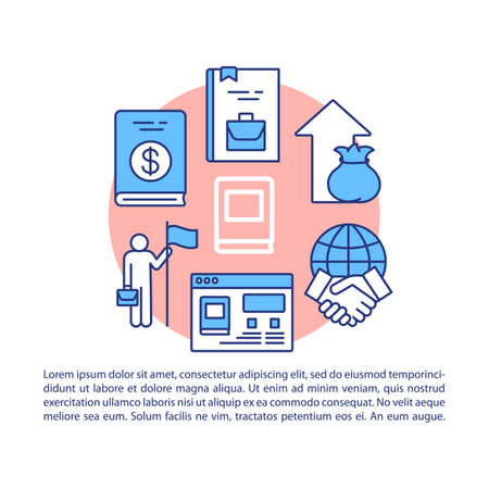 Business literature article page vector template. Brochure, magazine, booklet design element with linear icons. Financial literacy, goal achieving books.Print design. Concept illustrations with text