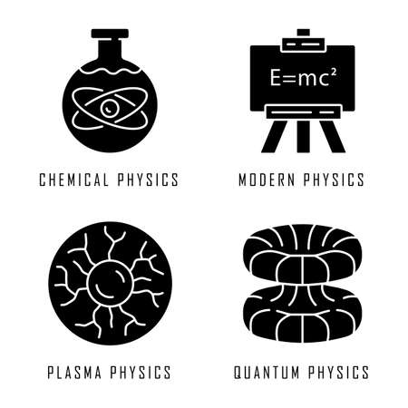 Physics branches glyph icons set. Chemical, modern, plasma and quantum physics. Quantum mechanics, physicochemical phenomena learning disciplines. Silhouette symbols. Vector isolated illustration