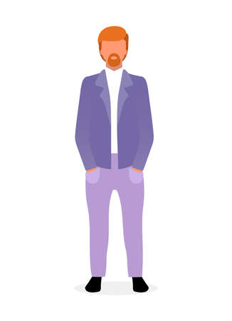 Red haired bearded man flat vector illustration. Confident guy in formal suit with hands in pocket. Stylish businessman in office style menswear. Male fashion model. Top manager cartoon character