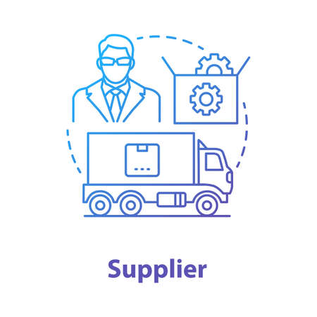 Supplier blue concept icon. Cargo transportation idea thin line illustration. Parcel shipping. Delivery service. Products transfer. Logistics and distribution. Vector isolated outline drawing