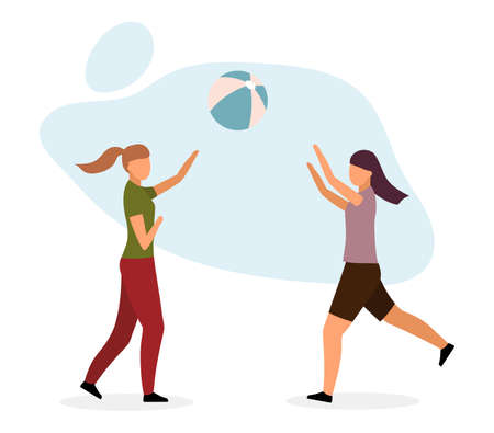 Girls playing ball game flat vector illustration. Female friends, sisters enjoy outdoor activities isolated cartoon characters on white background. Hikers, campers, beach volleyball fans leisure time Stock Illustratie