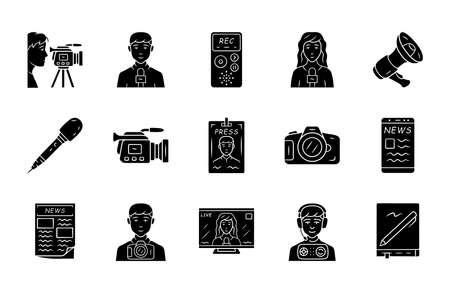 Mass media glyph icons set. Press. Television, radio broadcasting. Taking an interview, photographing events. News recording and filming, announcements. Silhouette symbols Vector isolated illustration