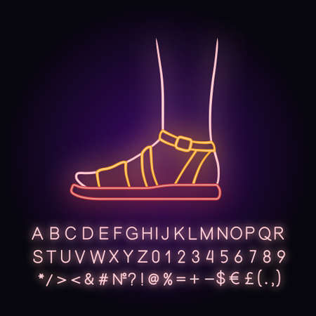 Sandals neon light icon. Woman stylish footwear design. Female casual shoes, modern summer flats with ankle strap. Glowing sign with alphabet, numbers and symbols. Vector isolated illustration