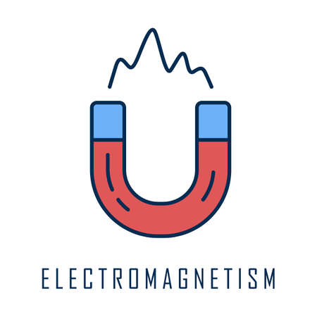 Electromagnetism color icon. Electromagnetic force. Branch of physics. Magnetic field physical phenomena. Magnetism effect. Horseshoe magnet. Metal power. Isolated vector illustration Иллюстрация
