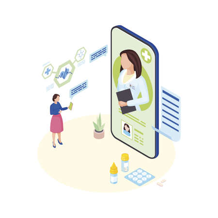 Doctor consulting online isometric illustration. Ill patient explaining  symptoms to remote medical specialist cartoon character. Female general practitioner video conference with sick client Illustration