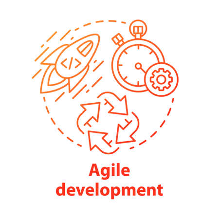 Agile development concept icon. Short term teamwork. Strategic management. Software programming cycle. Start IT project idea thin line illustration. Vector isolated outline drawing