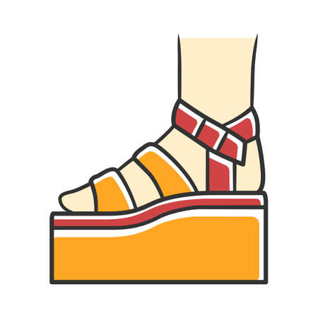 Platform high heel sandals yellow color icon. Woman stylish footwear design. Female casual summer shoes side view. Fashionable ladies clothing accessory. Isolated vector illustration Ilustracja