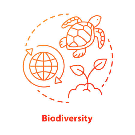 Biodiversity concept icon. Natural ecosystem protection idea thin line illustration in red. Wild life and marine habitants conservation. Nature saving. Vector isolated outline drawing