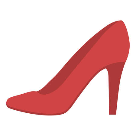 Stiletto shoes red flat color icon. Woman stylish formal footwear design. Female casual stacked high heels, luxury modern pumps. Fashionable and chic clothing accessory. Vector silhouette illustration Ilustracja
