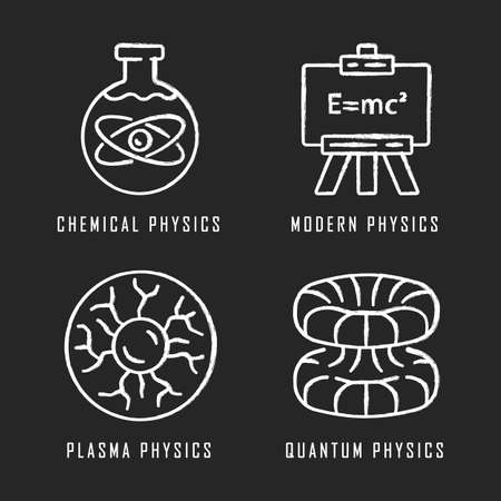 Physics branches chalk icons set. Chemical, modern, plasma and quantum physics. Quantum mechanics, physicochemical phenomena learning disciplines. Isolated vector chalkboard illustrations