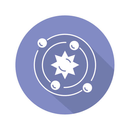Astrophysics blue violet flat design long shadow glyph icon. Astronomy branch. Study of universe, stars, planets, galaxies. Astrophysical discoveries. Cosmology. Vector silhouette illustration Ilustração