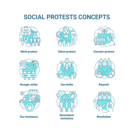Social protests concept icons set. Public demonstrations, civil disobedience idea thin line illustrations. Political opposition, strikes and boycotts vector isolated outline drawings. Editable stroke Çizim