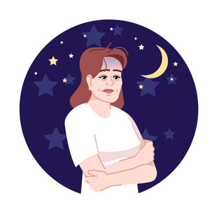 Insomnia flat concept icon. Depressed woman awakening at night sticker, clipart. Worried and stressed woman suffering from sleep disorder isolated cartoon illustration on white background