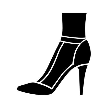 T-strap high heels glyph icon. Woman stylish retro footwear design. Female casual shoes, luxury stilettos. Classic clothing accessory. Silhouette symbol. Negative space. Vector isolated illustration Ilustracja