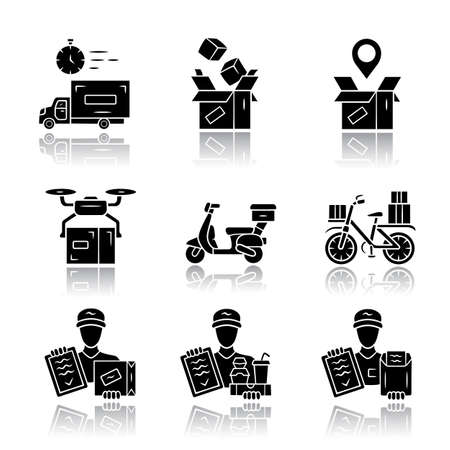 Delivery drop shadow black glyph icons set. Parcel packing and order tracking. Courier, messenger service. Scooter, bicycle delivery. Logistics and distribution. Shipment Isolated vector illustrations Banque d'images - 131289871