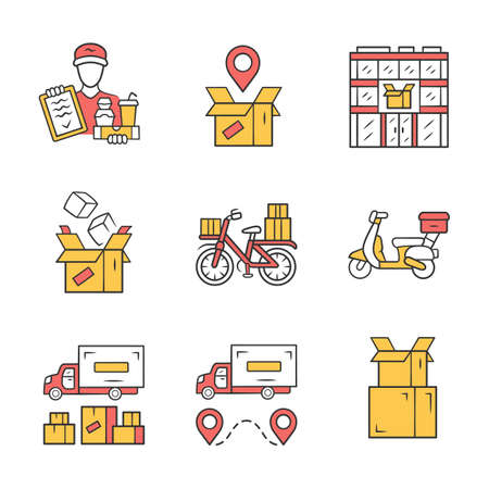 Delivery yellow color icons set. Parcel tracking, post office, cardboard box, order packing. Heavy goods shipping truck. Scooter, bicycle delivery. Isolated vector illustrations