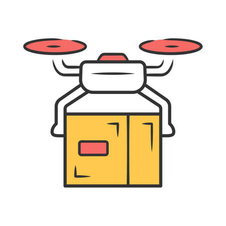Delivery drone color icon. Quadcopter transporting parcel. UAV with cardboard box. Autonomous drone delivery. Unmanned aerial vehicle and package. Express shipping service Isolated vector illustration Stockfoto - 131289869