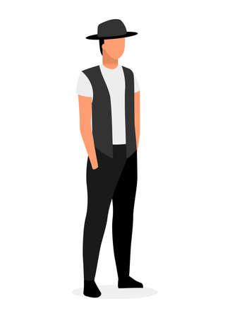 Ilustración de vector plano hipster joven. Chico en ropa de estilo callejero y sombrero fedora personaje de dibujos animados aislado sobre fondo blanco. Modelo de moda para hombre. Hombre confiado con las manos en los bolsillos