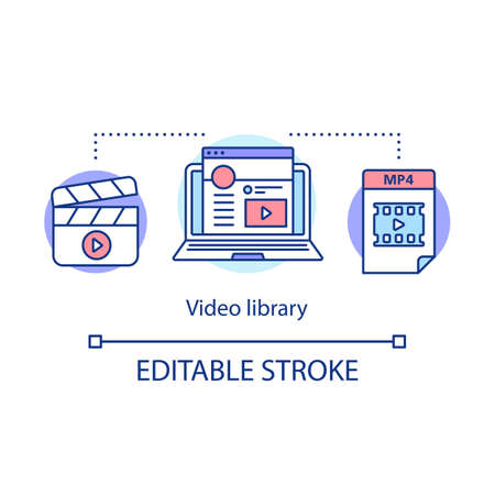 Video library concept icon. Internet vlog content hosting idea thin line illustration. Footage, clips, tape library. Video tutorials. Vector isolated outline drawing. Editable stroke