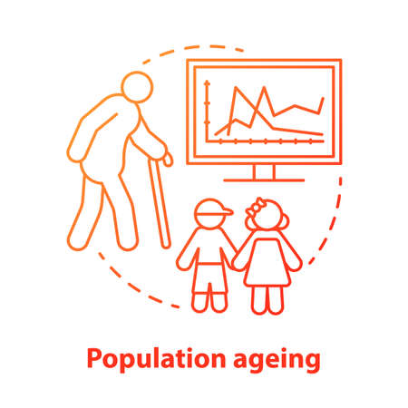Population ageing concept icon. Elderly people number increasing on planet idea thin line illustration in red. Demographic problems with lack of youth. Vector isolated outline drawing Banque d'images - 131289949