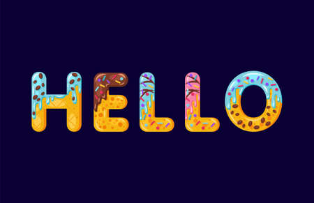 Hello biscuit vector lettering. Glazed gingerbread inscription. Tempting flat design typography. Cookies letters hi phrase isolated on dark blue. Biscuit word t shirt print, banner colorful element