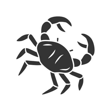 Crab glyph icon. Swimming sea animal with pincers. Zodiac sign. Underwater creature. Ocean aquarium. Seafood restaurant. Delicacy food. Silhouette symbol. Negative space. Vector isolated illustration  イラスト・ベクター素材