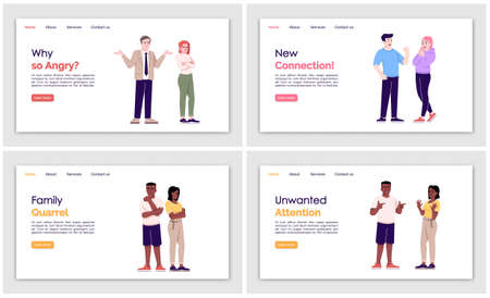 People behavior landing page vector template set. Human act website interface idea with flat illustrations. Psychological help homepage layout. Relations web banner, webpage cartoon concept