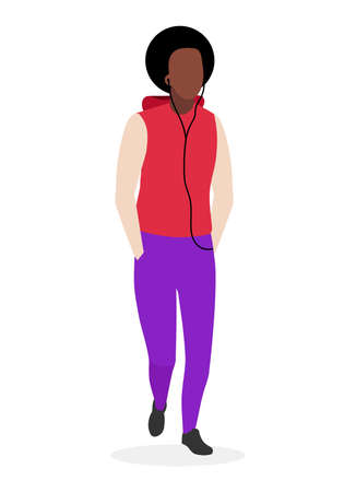African american guy with curly hairstyle flat illustration. Young dark skinned, black cool man in casual clothes. Brazilian fashion model in sports menswear cartoon character on white background Illustration
